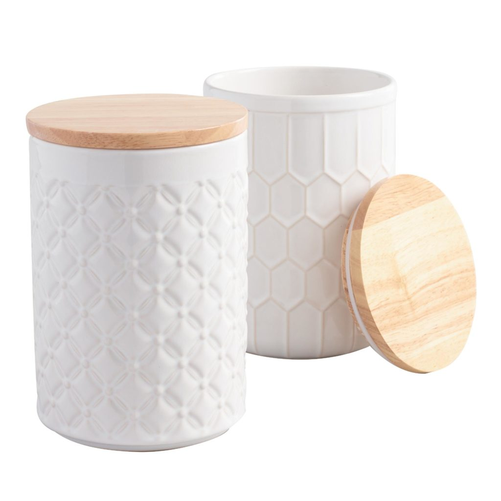 White Textured Ceramic Canisters
